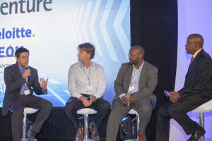 Sanergy Co-founder David Auerbach (left), addressing particpants  during the SAP Forum, looking on from right is SAP East Africa MD Andrew  Waititu, Sproxil CEO Ashifi Gogo and Solar Now CEO Willem No