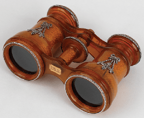 "Florence Schloss Guggenheim's opera glasses, inscribed ""FSG"""