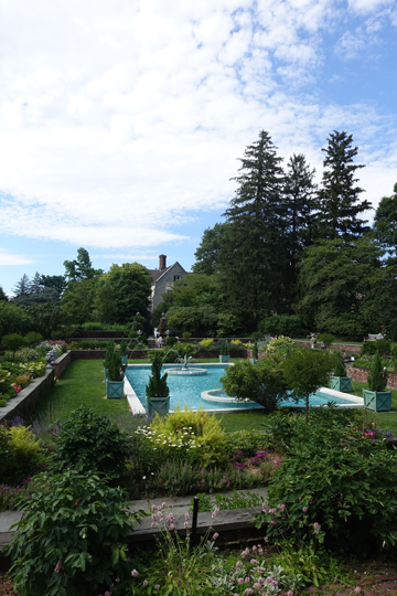The Sunken Garden and pool, originally a tennis court and renovated by the Coes for this garden.