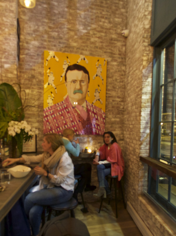 A psychedelic TR (had they been to the Bahr?) holds sway over an intimate, well-stocked bar.   And the food was great too!