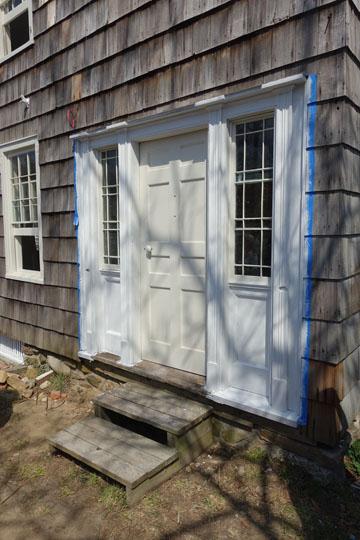 The front door facing Yaphank Avenue, freshly painted the morning of our tour.