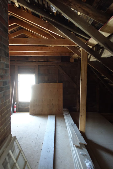 Most of the attic remains intact, with some subtle structural interventions to repair damage from insects.  The attic will be open to the public when the house opens in the fall, and well worth the trip.