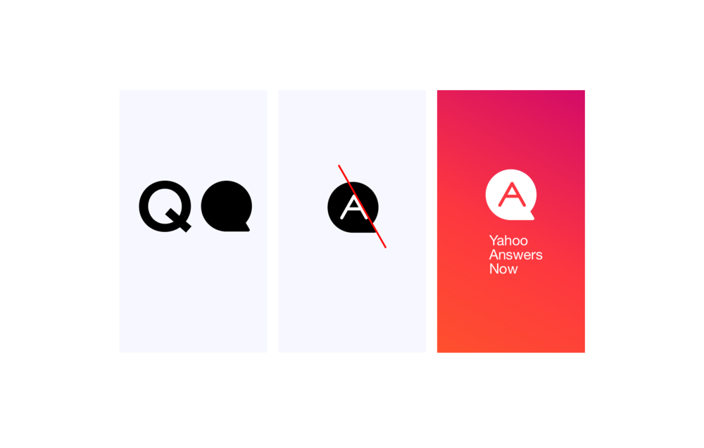 App logo - Thoughts around the product identity:• A solid filled shape follows Yahoo system  • The Q of Q&A is suggested in the bubble shape• Shared angles for geometric harmony• Consistent radius for end points
