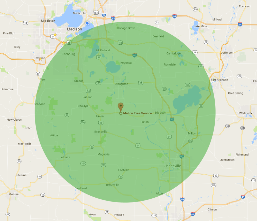 Service area map for Mallon Tree Service