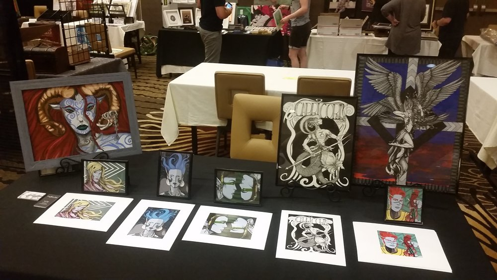 My humble display at the Showcase at IlluXcon X.