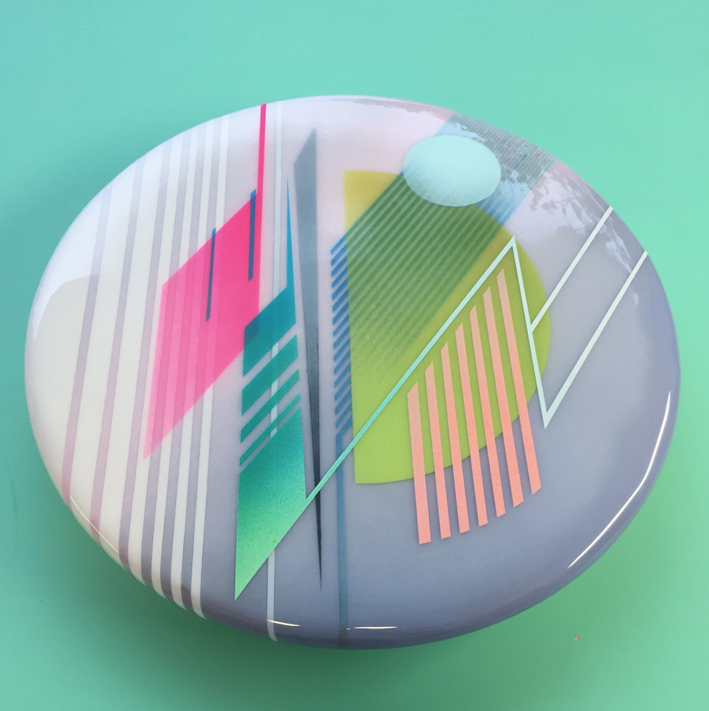 %22Epoch 6%22, Acrylic, spray paint & layered epoxy resin on wood 18%22 diameter, 2015.png