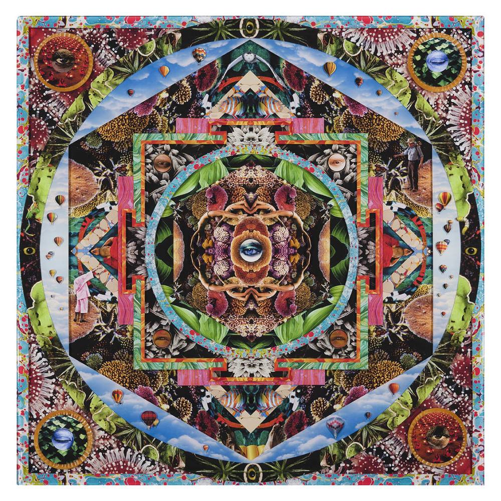 Aquatic Mandala, Collage layered in resin on mdf, 2014, 48%22x48%22.jpg
