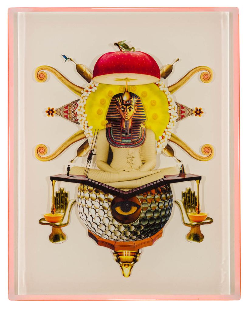 Buddahankhamun, Collage layered in resin on mdf, 2014, 14%22 x 18%22.jpg