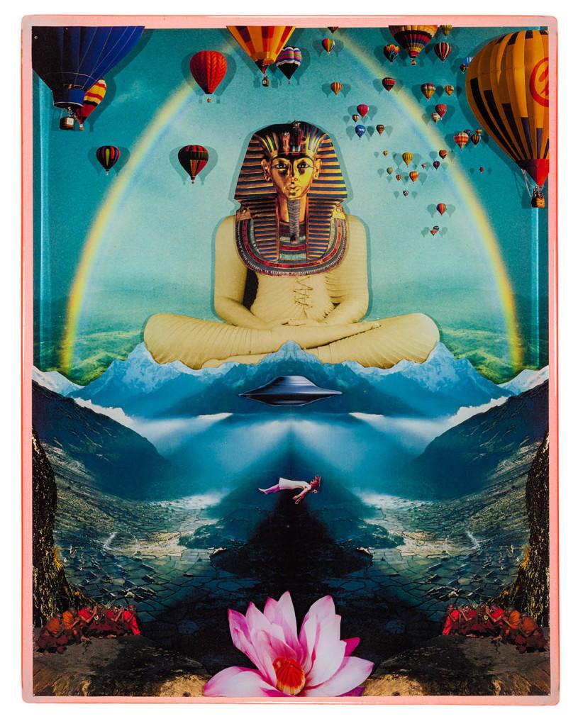 Buddhankhamun 2, Collage layered in resin on mdf, 2014, 14%22 x 18%22.jpg