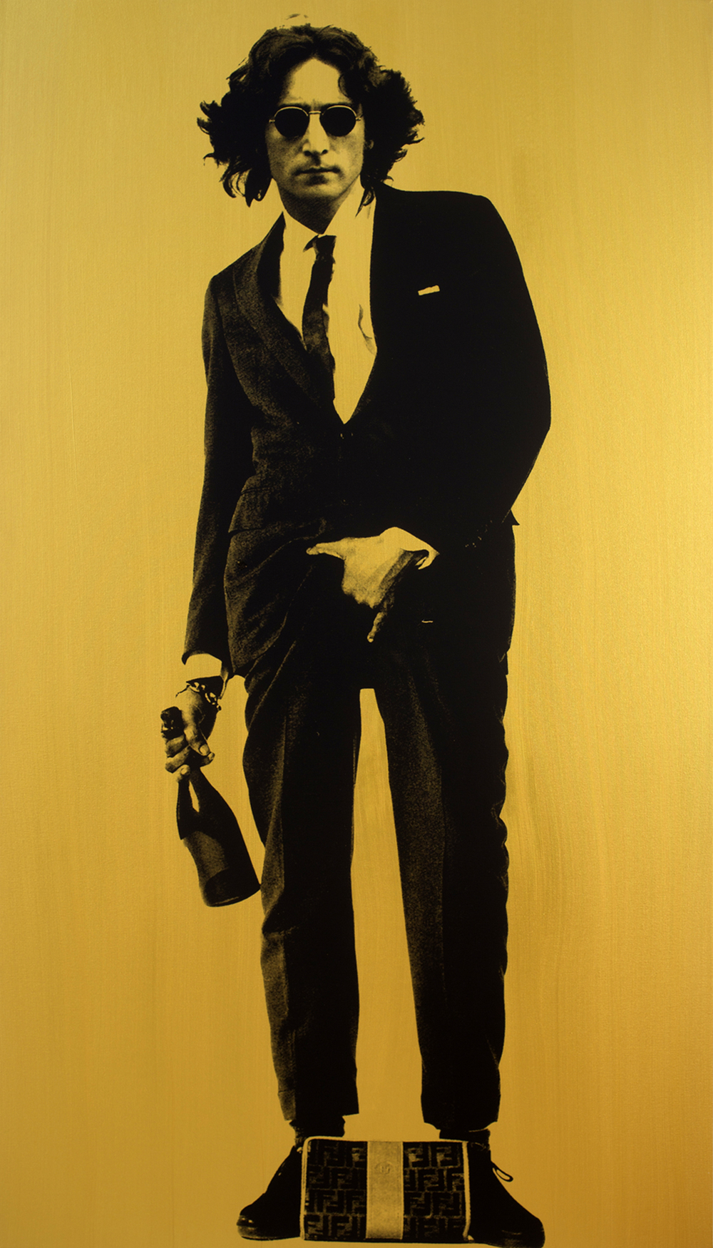 "John Lennon (Gold)_84"" x 48""_Silkscreen and Acrylic on Canvas_$15,000.00_2015.jpg"