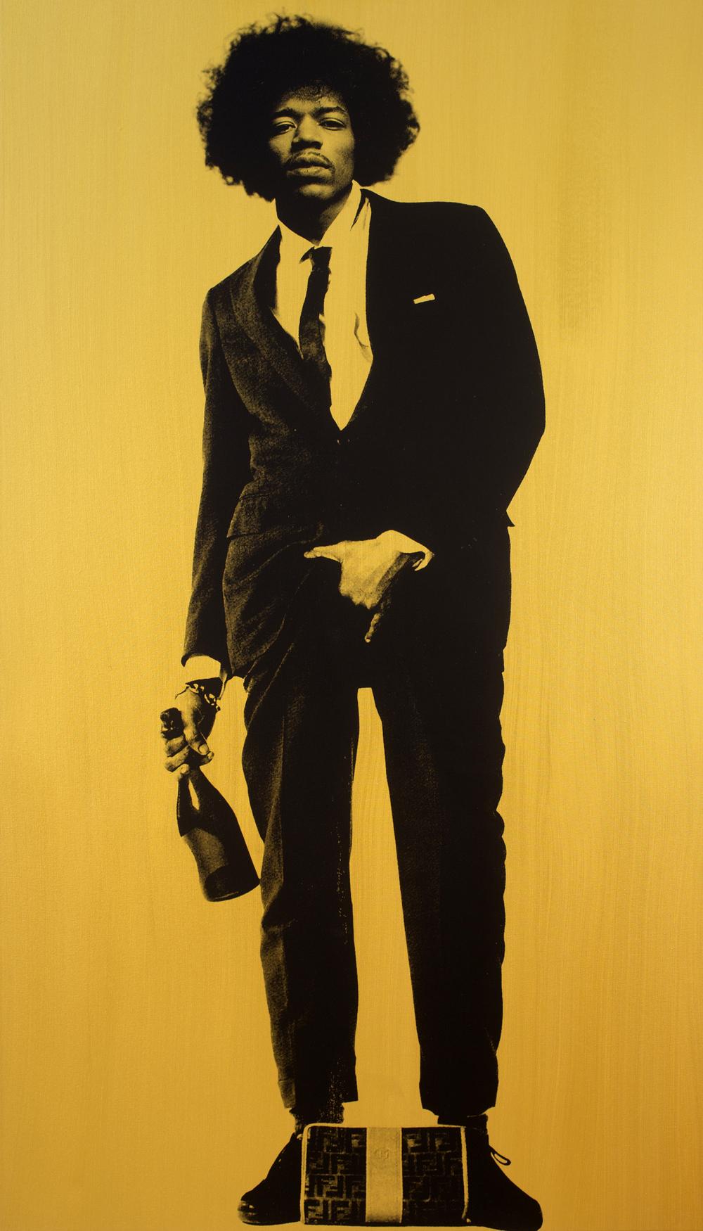 "Jimi Hendrix (Gold)_84"" x 48""_Silkscreen and Acrylic on Canvas_$15,000.00_2015.jpg"
