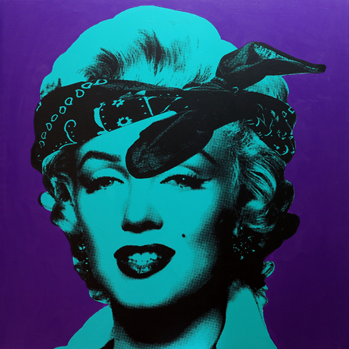 "KnowledgeBennett_GOOD GIRL GONE BAD (Blue Green and  Purple), 48"" x 48"", Silkscreen and Acrylic on Canvas, 2015 .jpg"