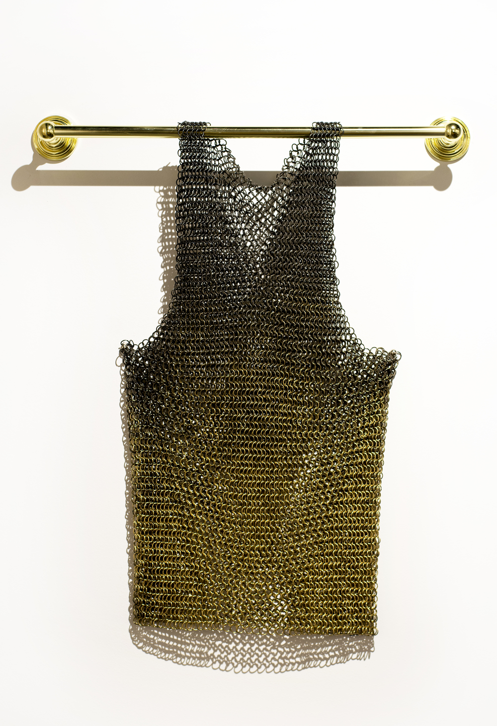 "Victor Solomon, ""We Talkin' Bout Armor."" 2016. Chainmail jersey. 24 x 36 in."