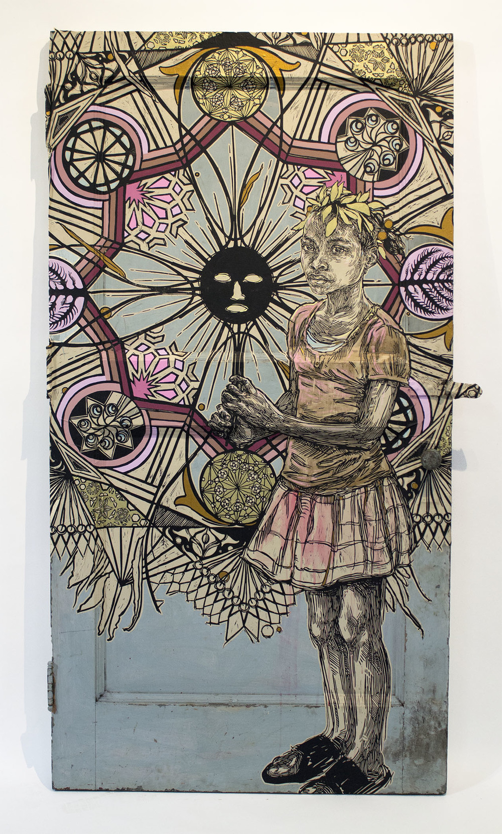 "Swoon, ""Edline."" 2015. Block print on paper on metal door. 44 x 83 x 2.5 in."