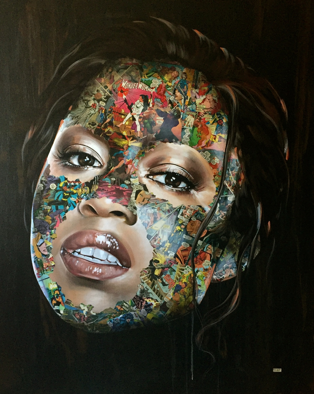 "Sandra Chevrier, ""La Cage Quand La Lumiere Regne."" 2016. Acrylic and collage on canvas. 48 x 60 in."