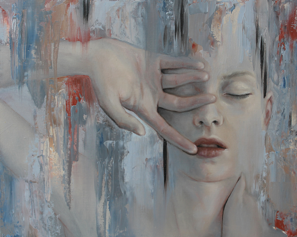 "Meredith Marsone, ""Disillusion/illusion series"" 2016. Oil on Board. 10 x 8 in."