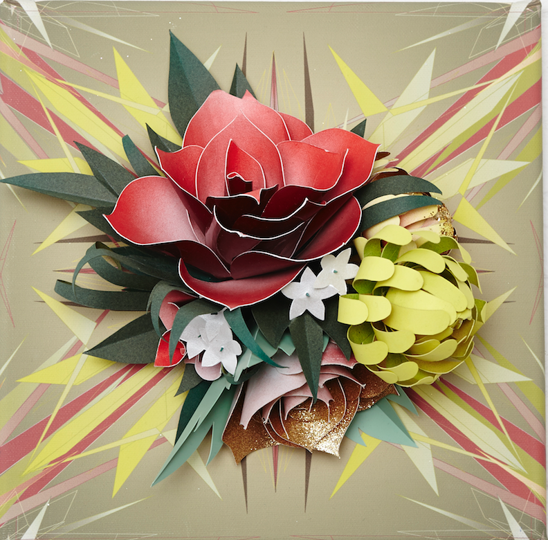 "Lacy Barry, ""Gold Fire Floral, plate #3"" 2014. Paper oral bouquet mounted on giclee printed vector mural square. 10 x 10 in."