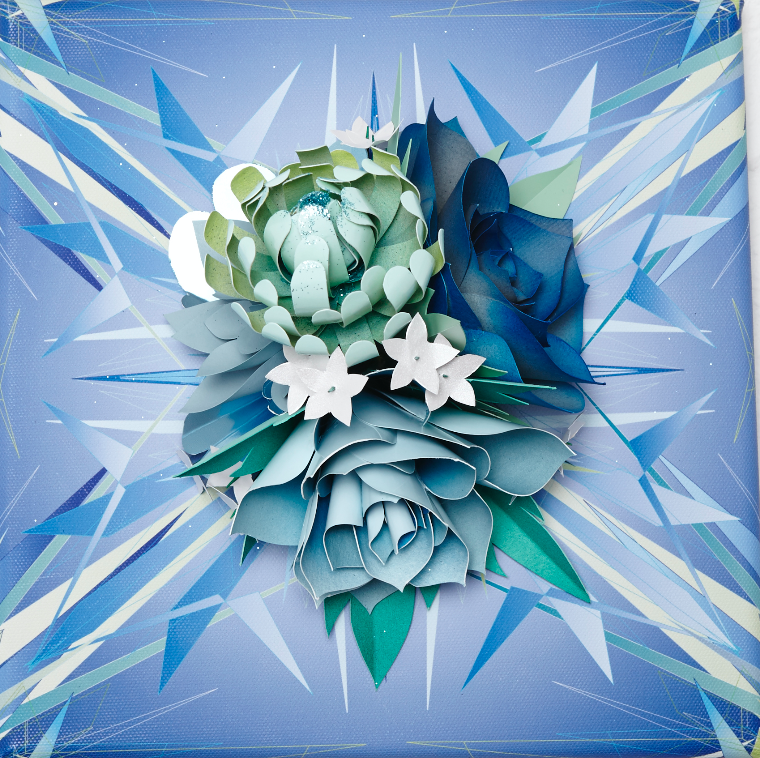 "Lacy Barry, ""Oceanic Lake Floral, plate #5"" 2014. Paper oral bouquet mounted on giclee printed vector mural square. 10 x 10 in."