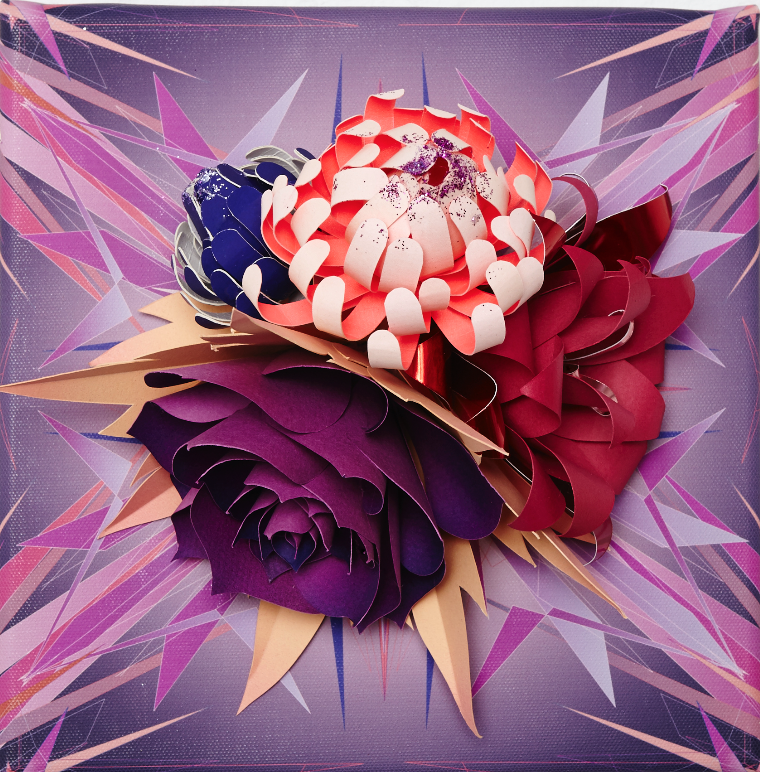 "Lacy Barry, ""Purple Fire Floral, plate #2."" 2014. Paper oral bouquet mounted on giclee printed vector mural square. 10 x 10 in."