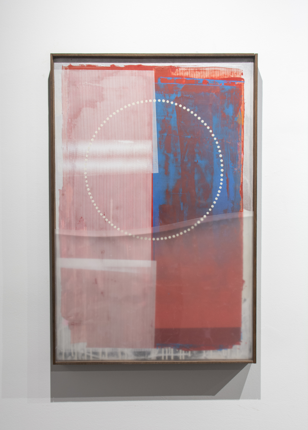 Erik Otto, Radiant 2, 2016. Enamel, acrylic, spray paint, screen print, framed with mylar. 24 x 36 in.
