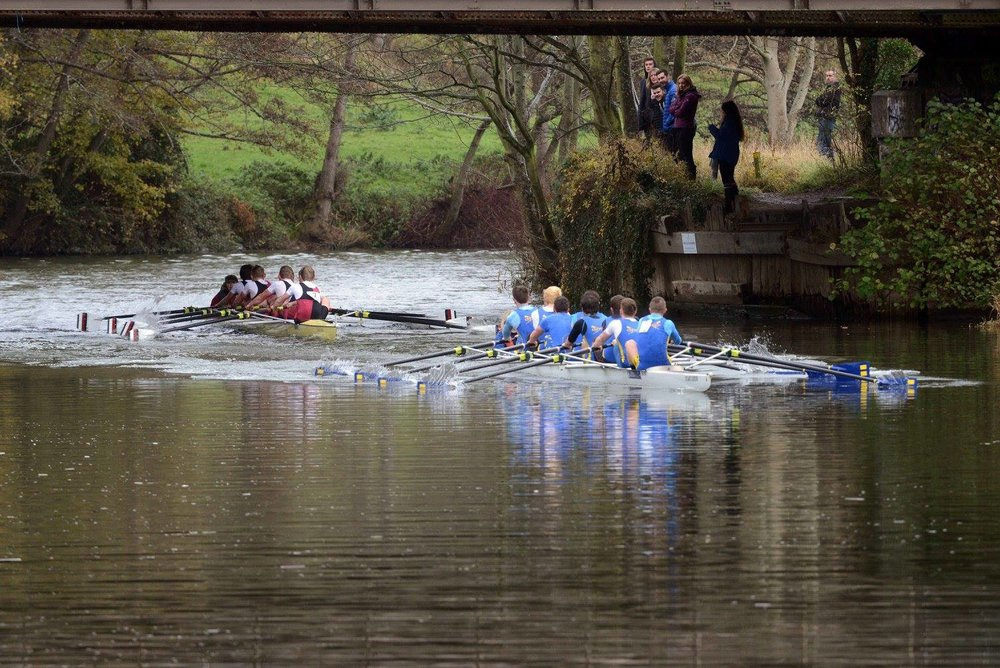 UBBC Men's 1st 8, about to overtake Bath Uni