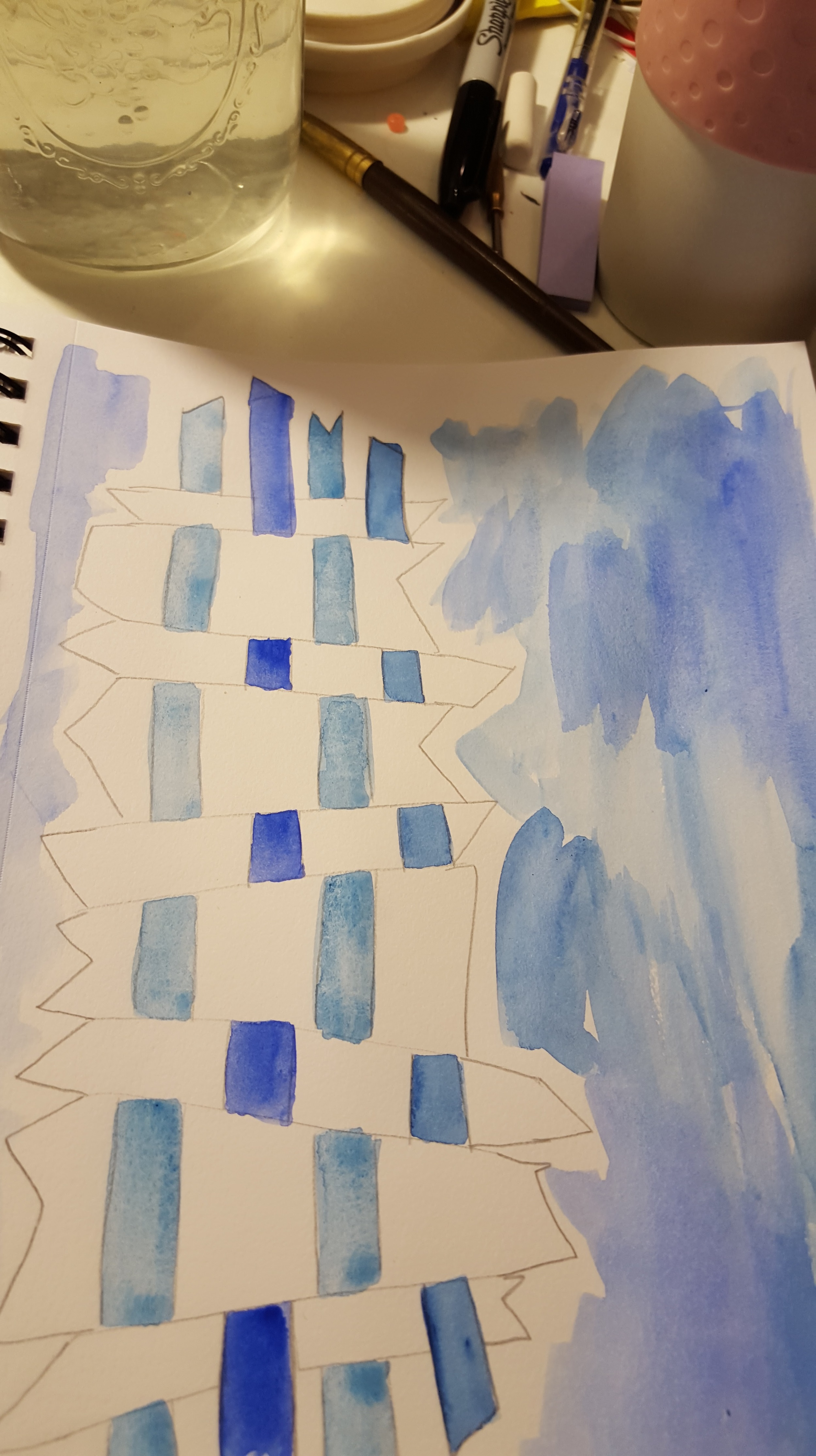 weavving blue paint
