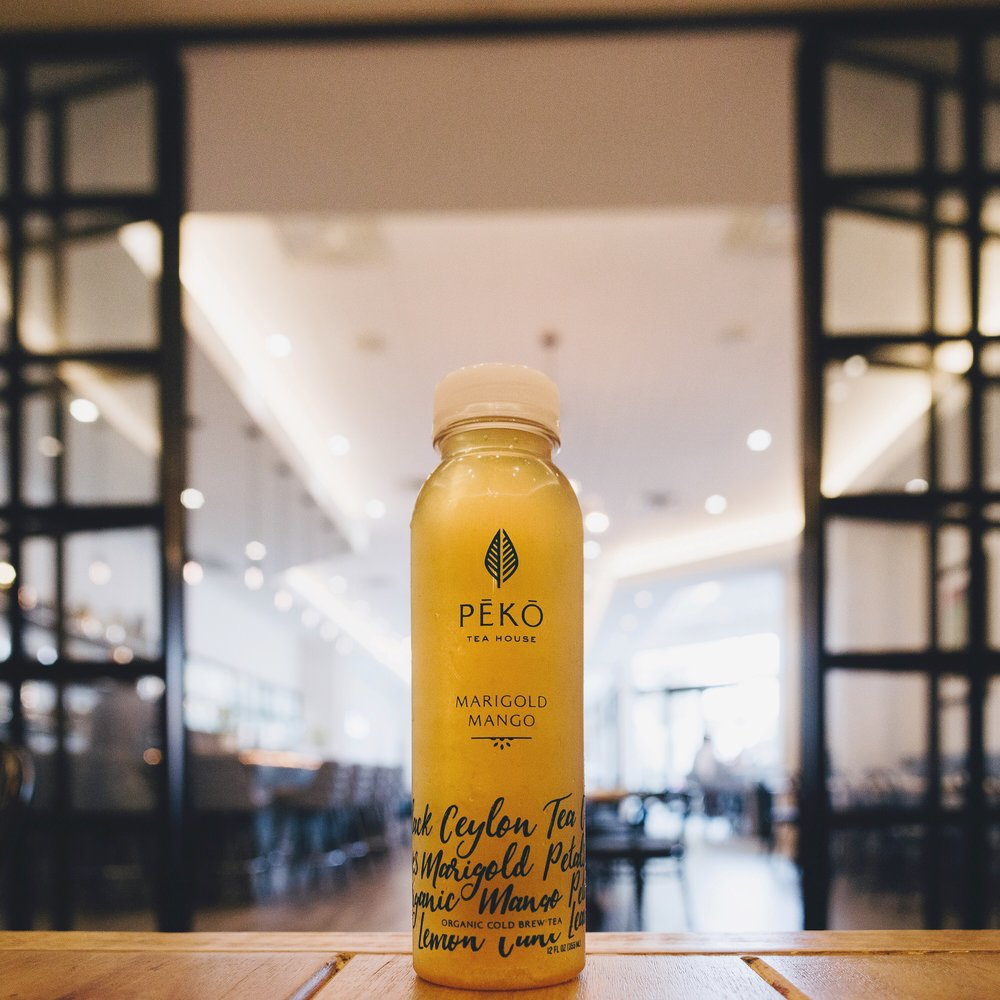 Herbal Mango Fruity Tea Cold Brew Tea by Peko Tea House Florida's First Organic Vegan Cold Brew Tea