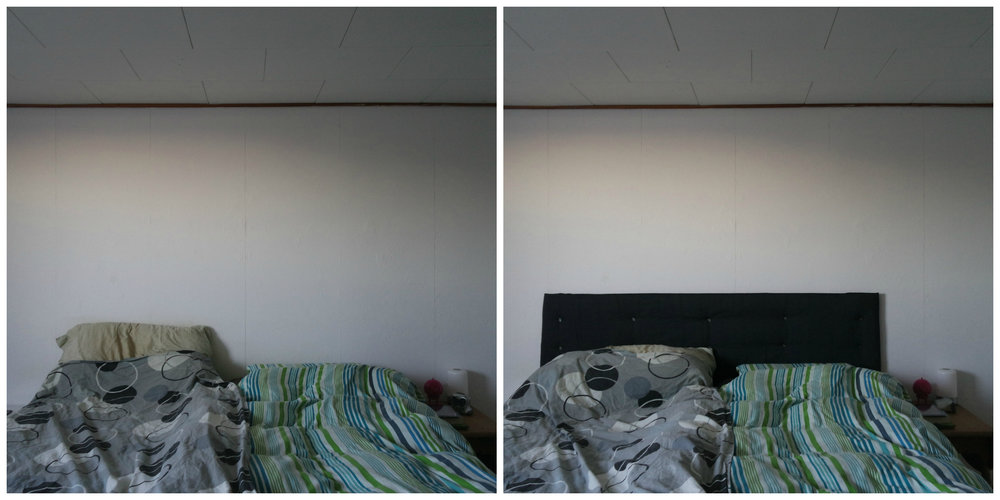 Before and after the headboard was made.