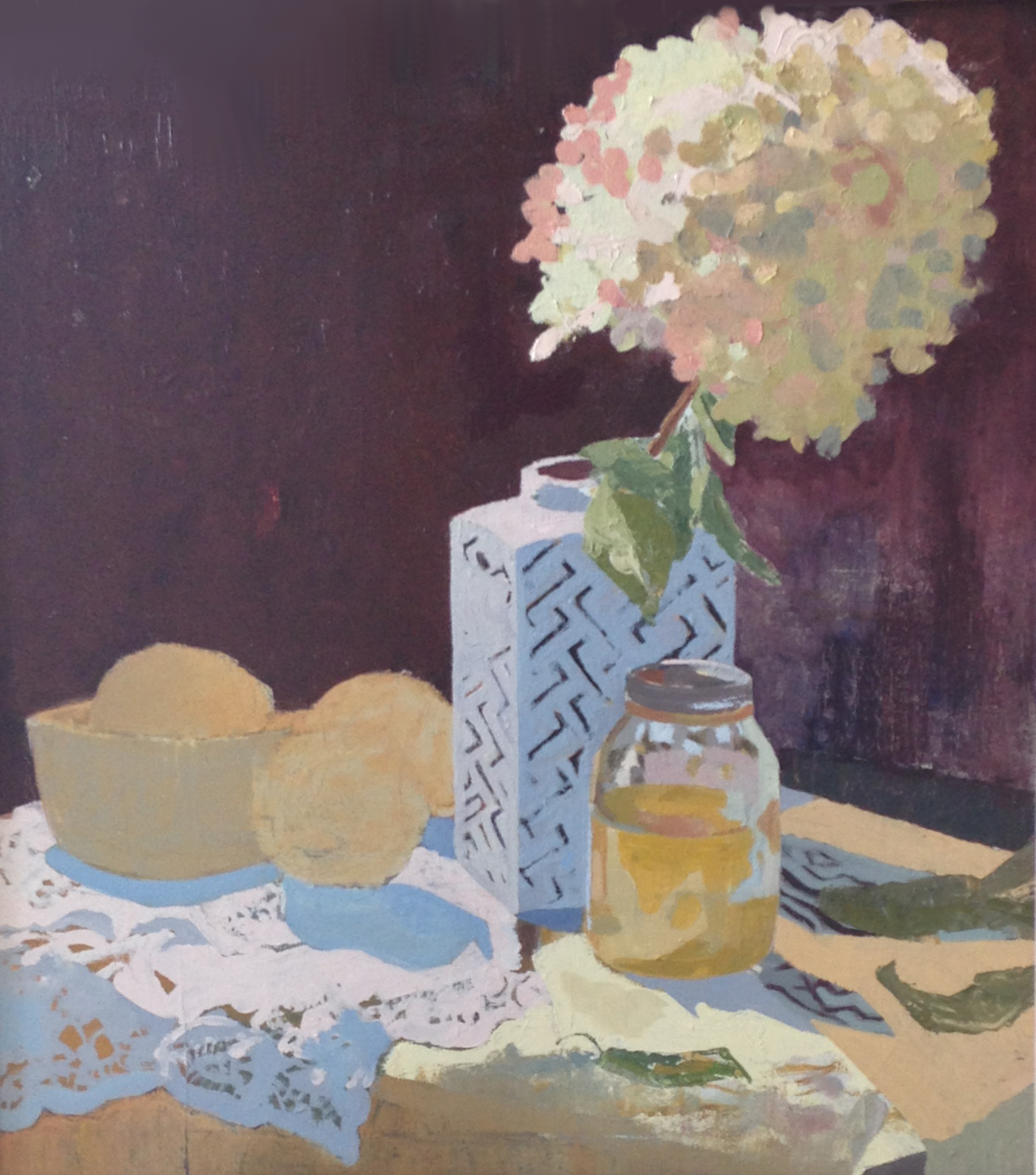 """Hydrangea and Lemons,"" oil on cotton, 26 x 26 inches."