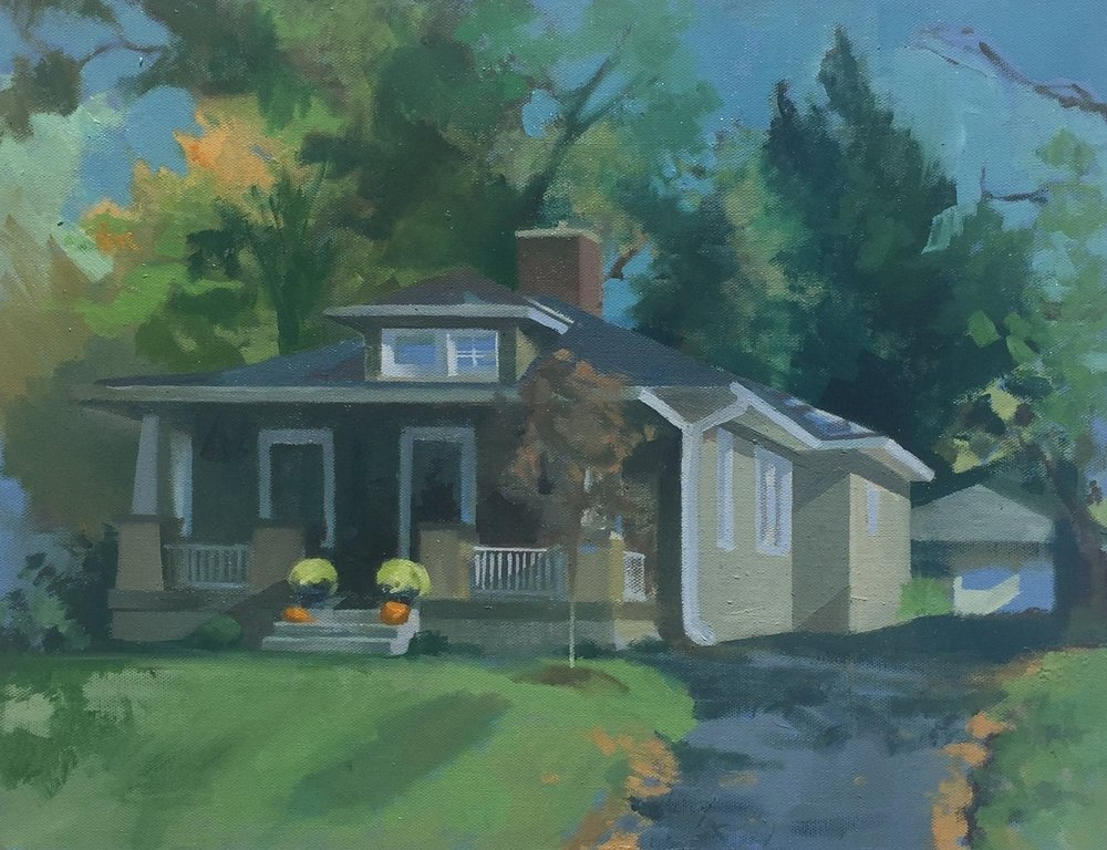 """Home in Autumn,"" 16 x 20 inches, oil on canvas."