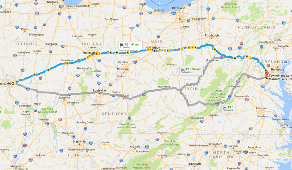 Google's suggested routes. All required committing a felony