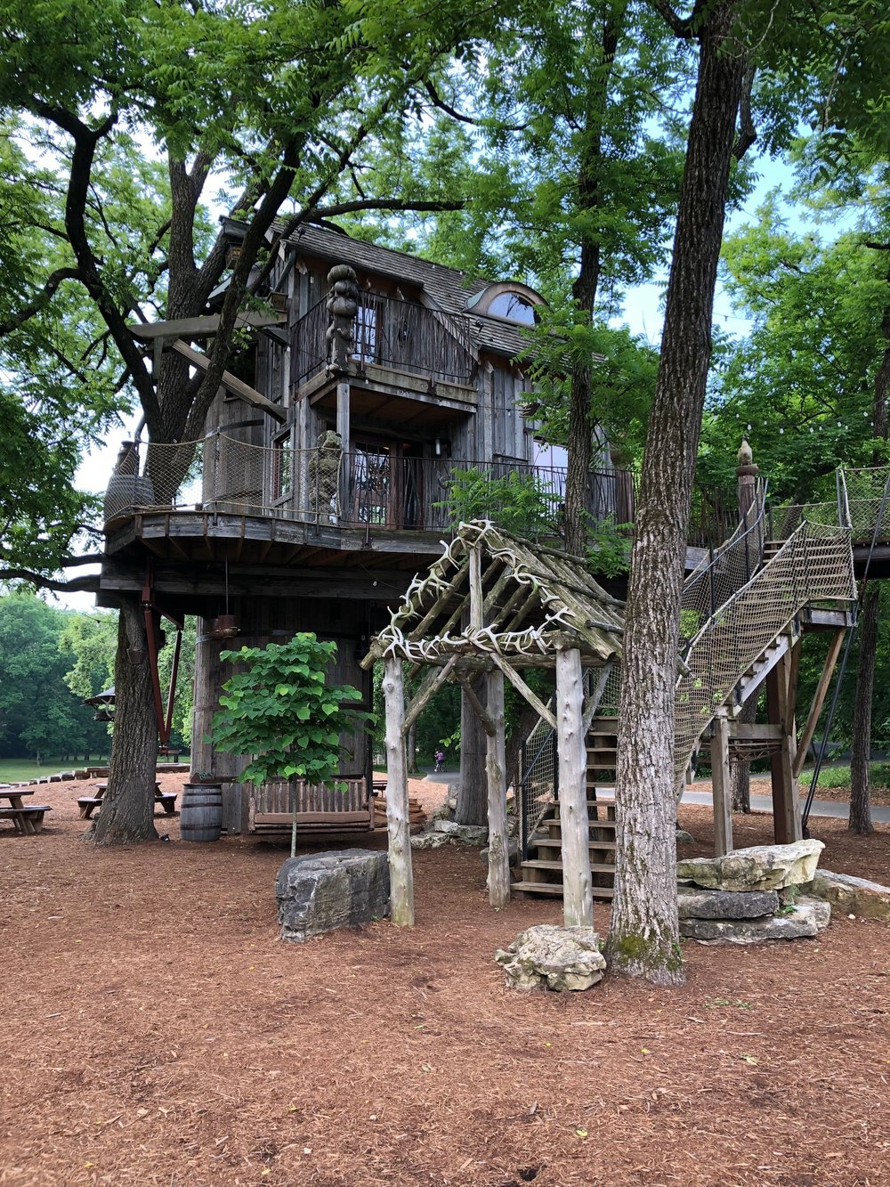 This tree house was built by Treehouse Masters on Animal Planet.