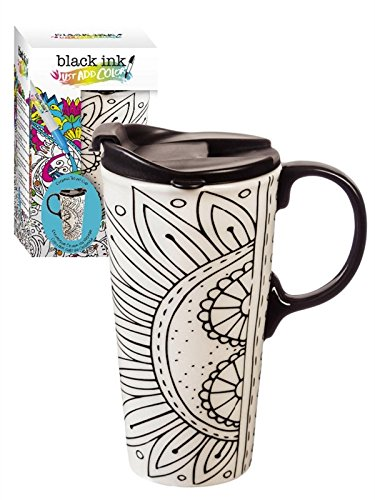 "A travel mug right on trend! Color it over and over or ""bake"" your design and make it permanent!"