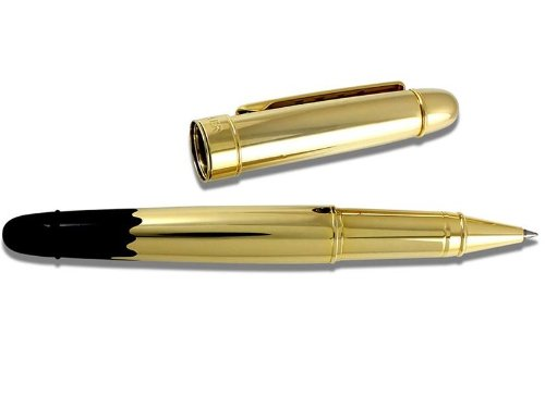 "Acme rollerball pens write so smoothly, and feel so good in your hand. This ""gold dipped"" version is a touch extra-fancy for the holidays."