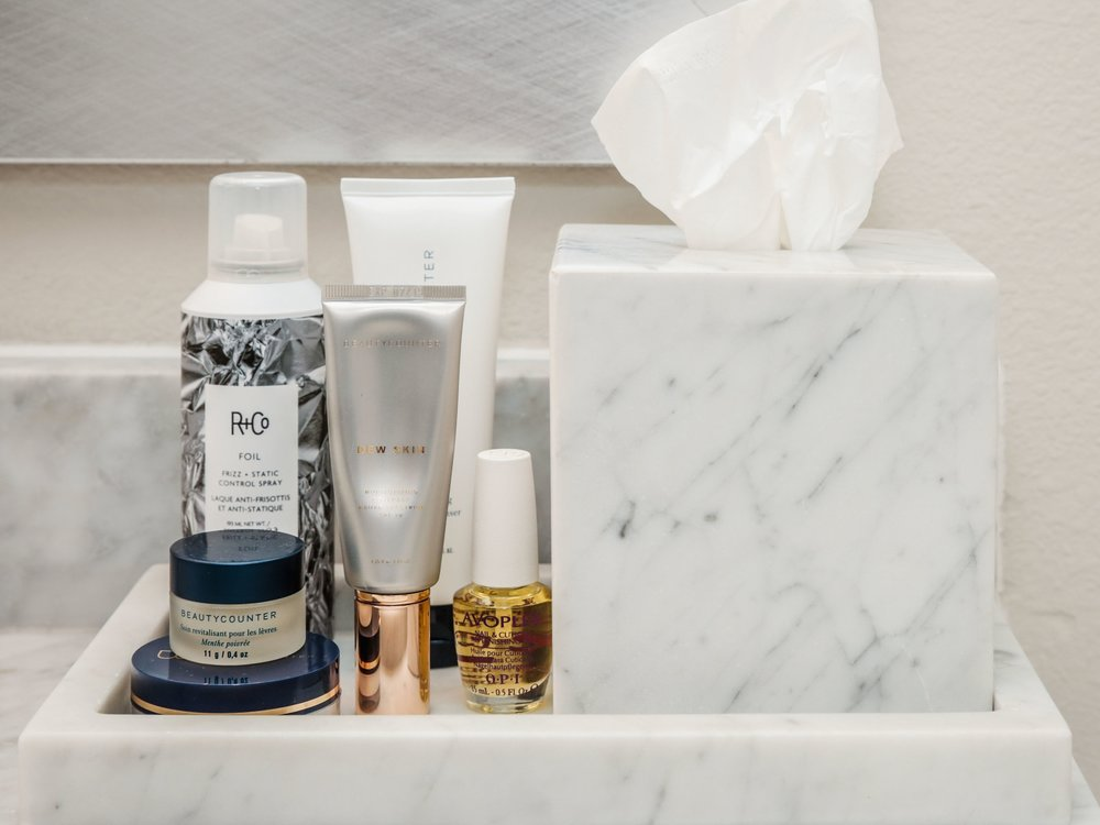 Beautycounter - R+Co - favorite beauty products - OPI - best nail care - favorite makeup - marble bathroom accessories