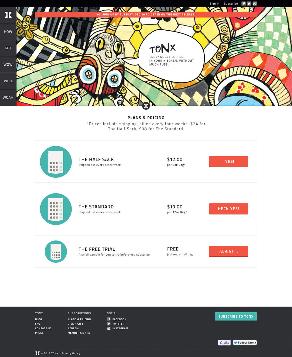 Logged out marketing page - header graphic by Ferris Plock