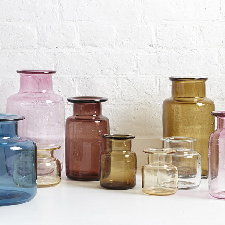 Coloured glass jars