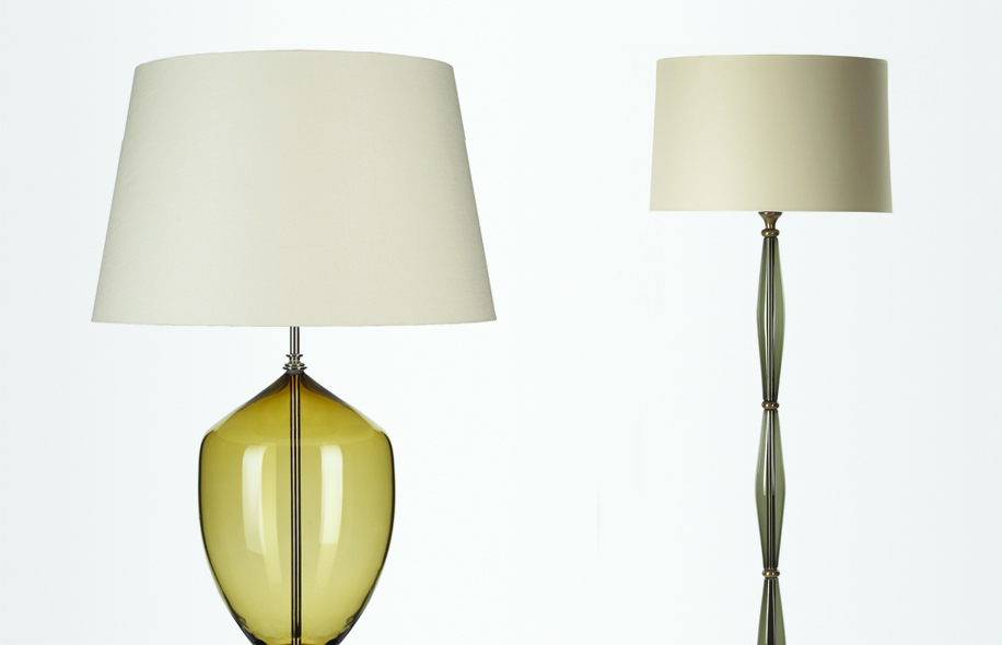 Michael Ruh creates bespoke handblown glass lampshade bases for Richard Taylor Designs
