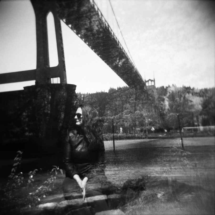 Becky at St. Johns Bridge, 2014