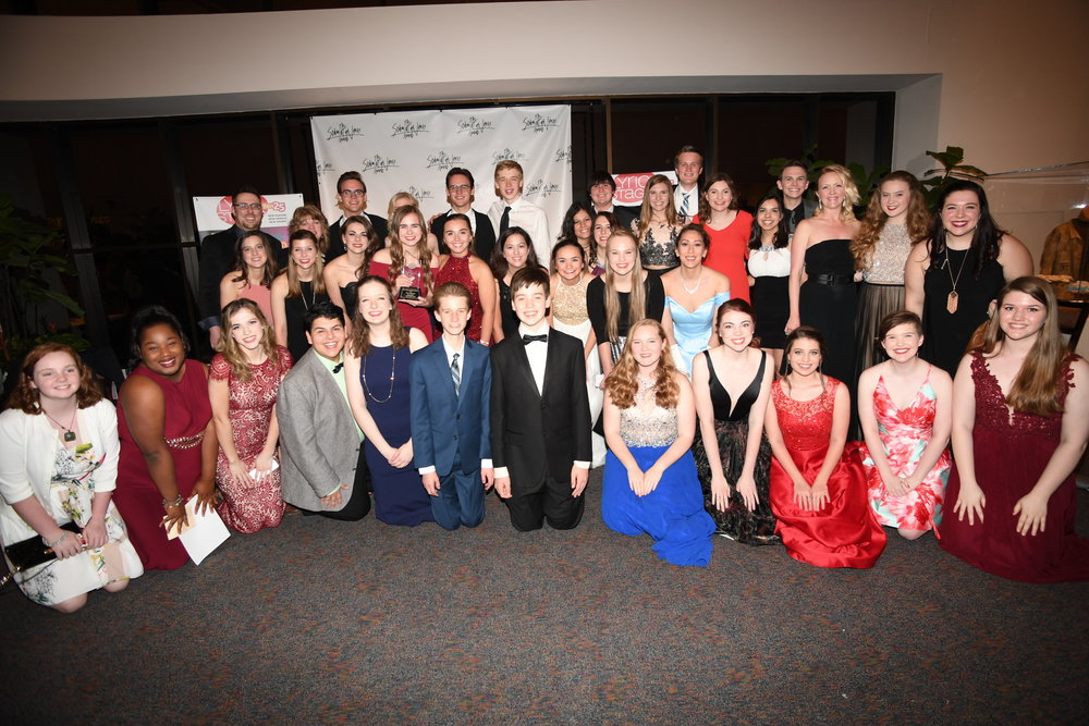 The cast and crew of 42nd Street celebrating their 6 nominations and 1 win at the Schmidt & Jones Awards Ceremony