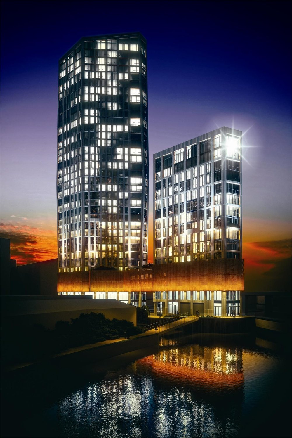 CGI showing building exterior at night