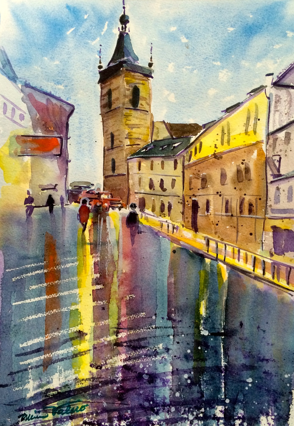 PRAGUE TOWER / watercolor on Arches paper / 14 x 11 in