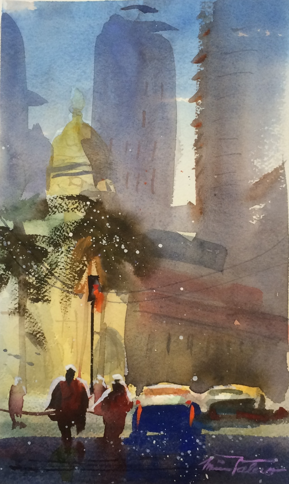SAN DIEGO CENTER / watercolor on Arches paper / 11 x 6 in