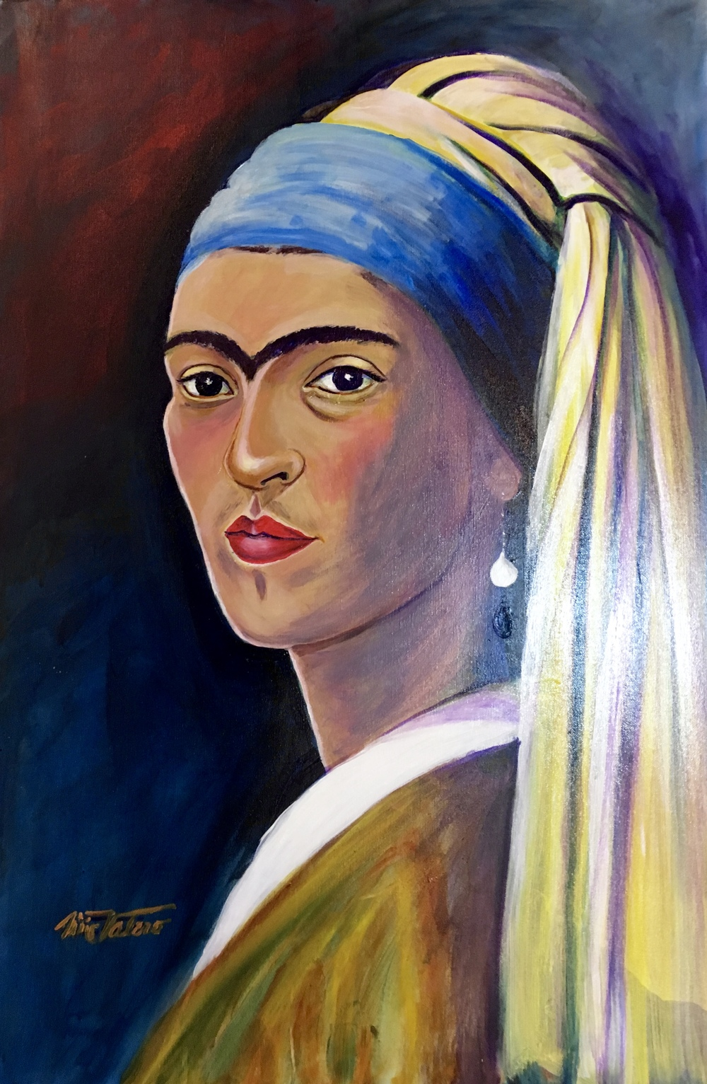 FRIDA WITH PEARL EARRING / acrylic on canvas / 36 x 24 in