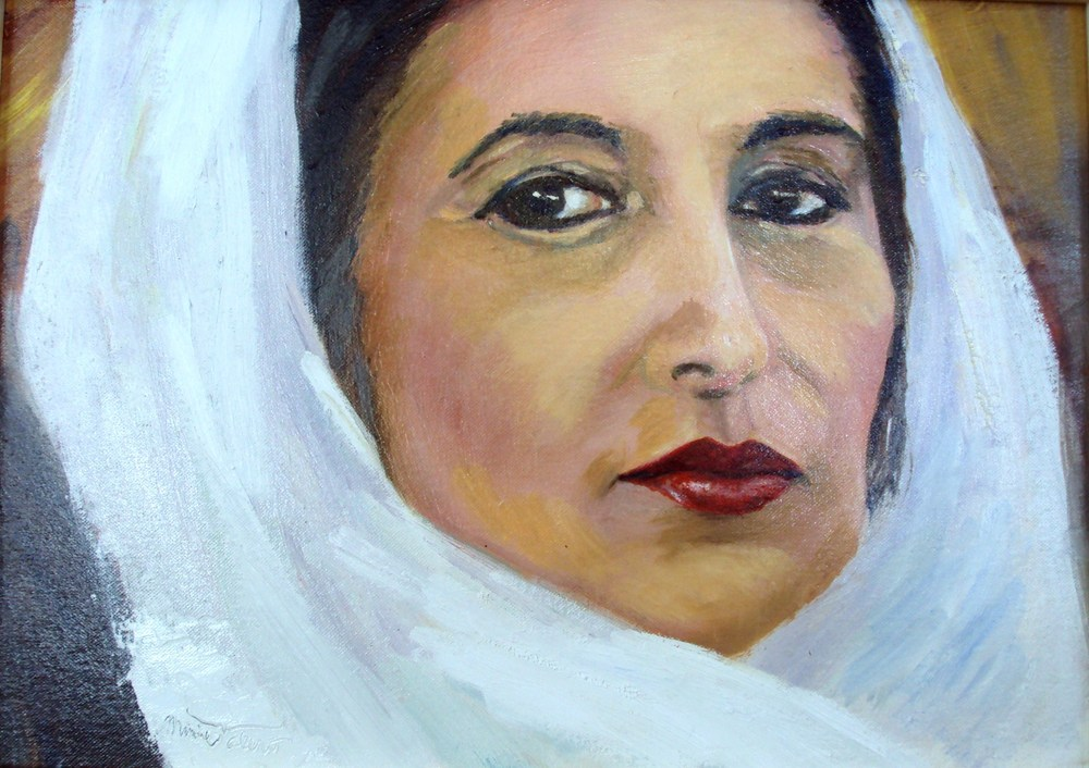 PASSION / portrait of Benazir Buttho / oil on canvas / framed / 13 x 18 in