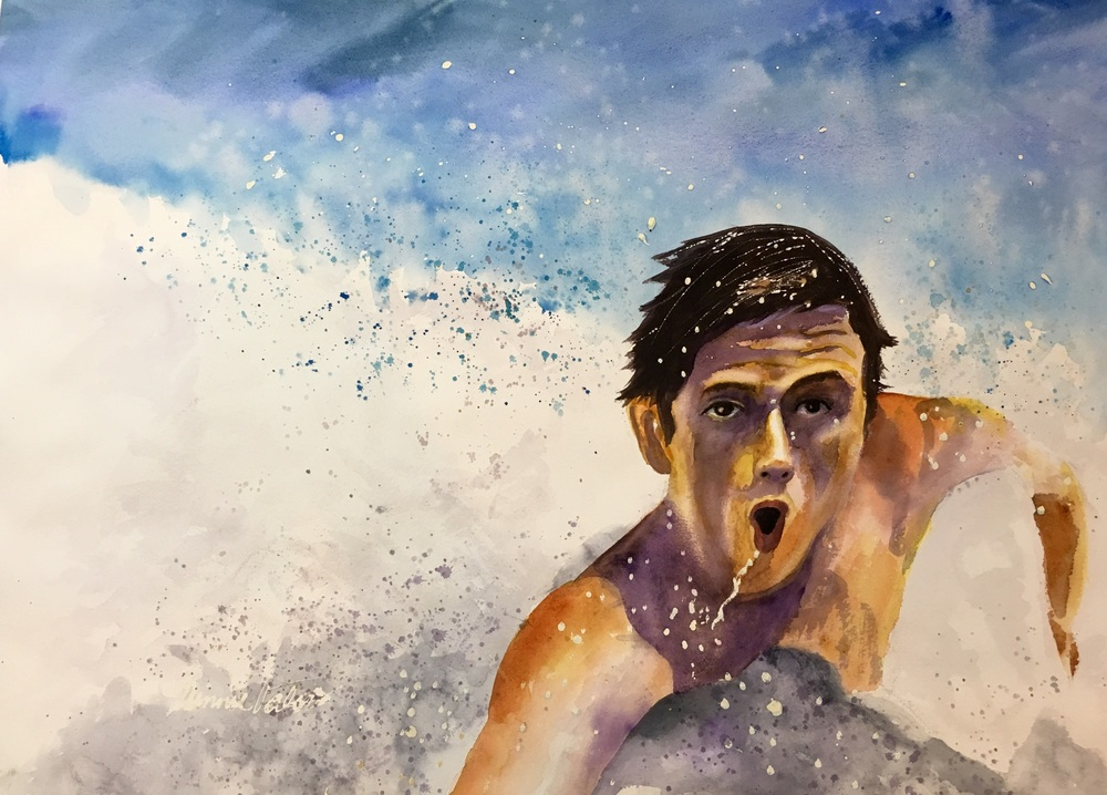 Matthew swims for pleasure, to compete in waterpolo, and for his job, saving lives. I tried to give this painting the energy and life he displays.   I just finished this 22x30 in. watercolor, it's ready to frame.