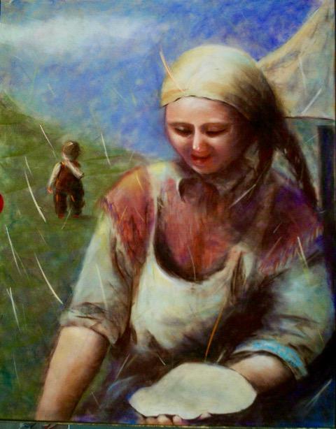 KAZAK MOTHER / pastel on board / 20 x 16 in
