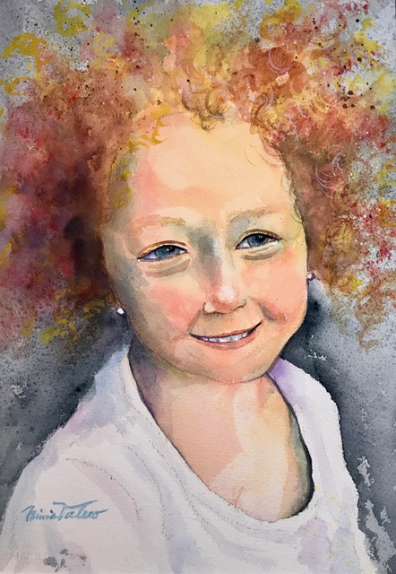 ALIAA, 3 YEAR OLF SYRIAN REFUGEE / watercolor / 15 x 11 in