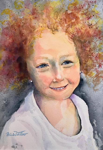 ALIAA, 3 YEAR OLF SYRIAN REFUGEE / watercolor / 15 x 11 in