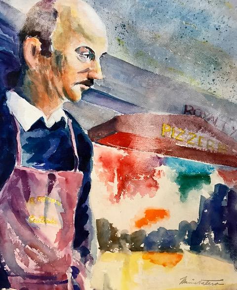 LE SERVEUR AU ROYALTY / watercolor / 22 x 15 in